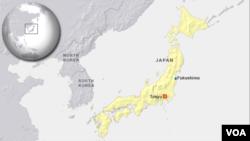 Bản đồ của Fukushima, nơi xảy ra thảm họa sóng thần và và thảm hoạ hạt nhân.