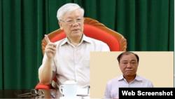 Tổng Bí thư Nguyễn Phú Trọng và ông Lê Tấn Hùng. Photo chụp từ Thanh Niên
