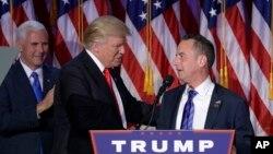 ေရြးေကာက္ခံ အေမရိကန္သမၼတ Donald Trump ႏွင့္ Republican ပါတီ ဥကၠ႒ Reince Priebus