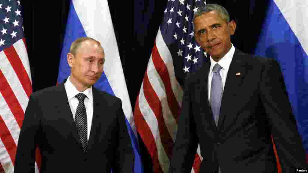 Shugaba Obama Da Shugaban Kasar Rasha Vladimir Putin A Taron Majalisar Dinkin Duniya Da Ake Gudanarwa A Birnin New York, Satumba 29, 2015.