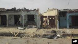 Lokasi serangan bom bunuh diri yang terjadi saat warga sedang menonton pertandingan Piala Dunia di Damaturu, Nigeria (18/6).