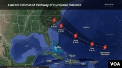 Projected path of Hurricane Florence, Sept. 11, 2018.