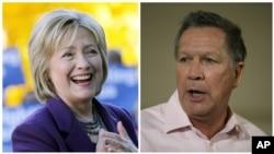 Demokrat Hillari Klinton və respiublilkaçı Con Kasiç