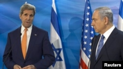 克里国务卿在同以色列总理内塔尼亚胡在耶路撒冷举行会谈之前(2015年11月24日)
