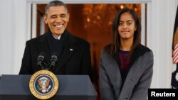 Barack Obama et sa fille Malia,Washington, 27 novembre 2013