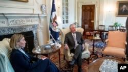 美国国务卿蒂勒森在国务院会晤欧盟外交事务主管莫盖里尼。(2017年2月9日)