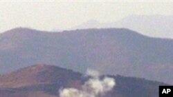 북한 포격 당시 연기가 쏟는 연평도