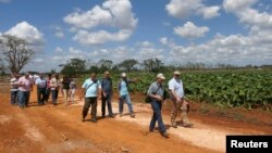 FILE - Members of the U.S. Agriculture Coalition for Cuba walk at a farm in Guira de Melena, Artemisa province March 3, 2015. Two former agriculture secretaries, a number of state agriculture officials and representatives of various state farm bureaus were among the 95 people making the trip, which was organized by the U.S. Agriculture Coalition for Cuba.
