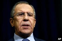 Russian Foreign Minister Sergey Lavrov speaks to the media about a Russian jet fighter being shot down by Turkish forces, in Sochi, Nov. 24, 2015.