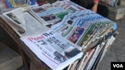 Newsstands behind Langka pagoda, along Pasteur street in Phnom Penh, Cambodia on September 27, 2015. (Oum Sonita/VOA Khmer)