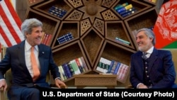 U.S. Secretary of State John Kerry with Afghanistan CEO Abdullah Abdullah. Afghanistan. (April 9, 2016.)