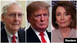 Kutoka kushoto, Kiongozi wa Baraza la Seneti Mitch McConnell, Rais Donald Trump, na Spika Nancy Pelosi.