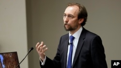 FILE - U.N. human rights chief Zeid Ra'ad al-Hussein speaks to Vanderbilt University School of Law students, April 5, 2017, in Nashville, Tennessee.