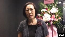 台灣大學副校長周家蓓接受美國之音採訪(美國之音齊勇明攝於2019年10月28日 )