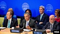 باراک اوباما رئیس جمهوری آمریکا (وسط) در نشست مبارزه با تروریسم در حاشیه اجلاس مجمع عمومی سازمان ملل متحد در نیویورک - ۷ مهر ۱۳۹۴