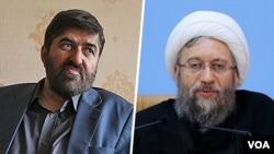 علی مطهری نائب رئیس مجلس و صادق لاریجانی رئیس قوه قضائیه ایران هستند.