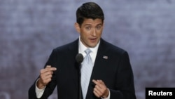 Paul Ryan memberikan pidato setelah menerima nominasi partai Republik sebagai Cawapres AS mendampingi Capres Mitt Romney (29/8).