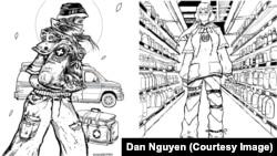 """Hai bức tranh tô màu tôn vinh """"những anh hùng thầm lặng"""" trong đại dịch COVID-19 của Họa sĩ - DJ Dan Nguyen, do Hội đồng Nghệ thuật Long Beach phát hành vào tháng 4/2020."""