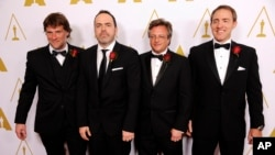 Left to right, Robert Lanciault, Andre Gauthier, Benoit Sevigny and Yves Boudreault, designers of the FILMBOX software application and recipients of a Scientific and Engineering Award, pose together at the Academy of Motion Picture Arts and Sciences' annual Scientific and Technical Awards, Feb. 15, 2014, in Beverly Hills, California.