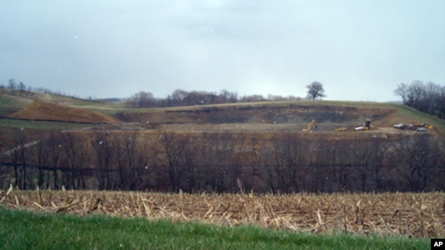 Land being excavated to hold waste water from a fracturing operation in Pennsylvania.