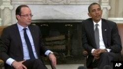 奧朗德(左)和奧巴馬(右)會晤。