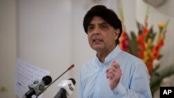 Pakistan's Interior Minister Chaudhry Nisar Ali Khan says, a blacklisted American citizen Matthew Barrett will be deported once a joint interrogation team completes its work while addressing a news conference in Islamabad, Aug. 12, 2016.