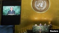 리수용 북한 외무상이 1일 미국 뉴욕 유엔 본부에서 열린 제 70차 유엔 총회에서 기조연설을 하고 있다.