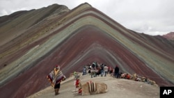 In this March 2, 2018 photo, an Andean man rests with his llama while tourists take in the natural wonder of Rainbow Mountain in Pitumarca, Peru. (AP Photo/Martin Mejia)
