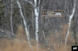 FILE - A large tower seen from a public road is visible through the trees at Leather Hill Preserve in Wingdale, New York, Feb. 1, 2018. A company tied to Donald Trump Jr. and Eric Trump owns the 171-acre hunting preserve that is being used as a private shooting range.