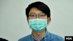 香港大專學界國際事務代表團前發言人張崑陽表示,發表公開信希望喚起美國政壇重新關注香港人權民主狀況。(美國之音湯惠芸拍攝)