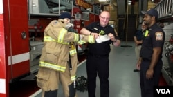 Anna takes her job as fire safety monitor very seriously. She visits a local fire station.