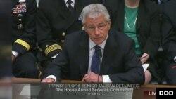 U.S. Defense Secretary Chuck Hagel testifies on Capitol Hill about the Taliban prisoner swap, June 11, 2014.