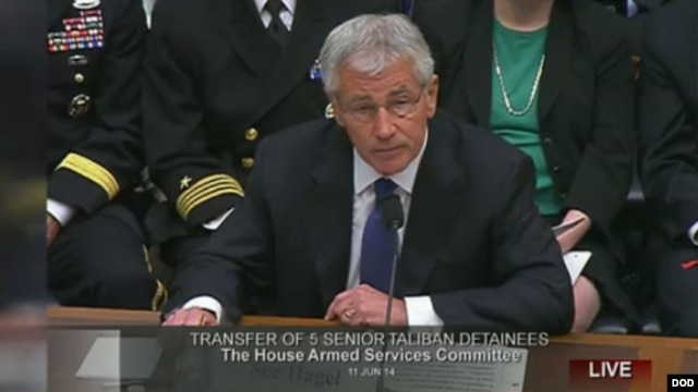U.S. Defense Secretary Chuck Hagel testifies on Capitol Hill about the Taliban prisoner swap, June 11, 2014.