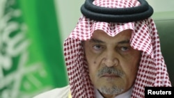 Saudi Arabian Foreign Minister Prince Saud Al-Faisal gestures during a news conference at his office in Riyadh December 4, 2012.