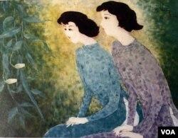 Thiếu nữ và Hoa Quỳnh, sơn dầu trên bố 40'' x 52'', 2000 [tư liệu gia đình Mai Chửng]