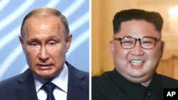 블라디미르 푸틴 러시아 대통령(왼쪽)과 김정은 북한 국무위원장.