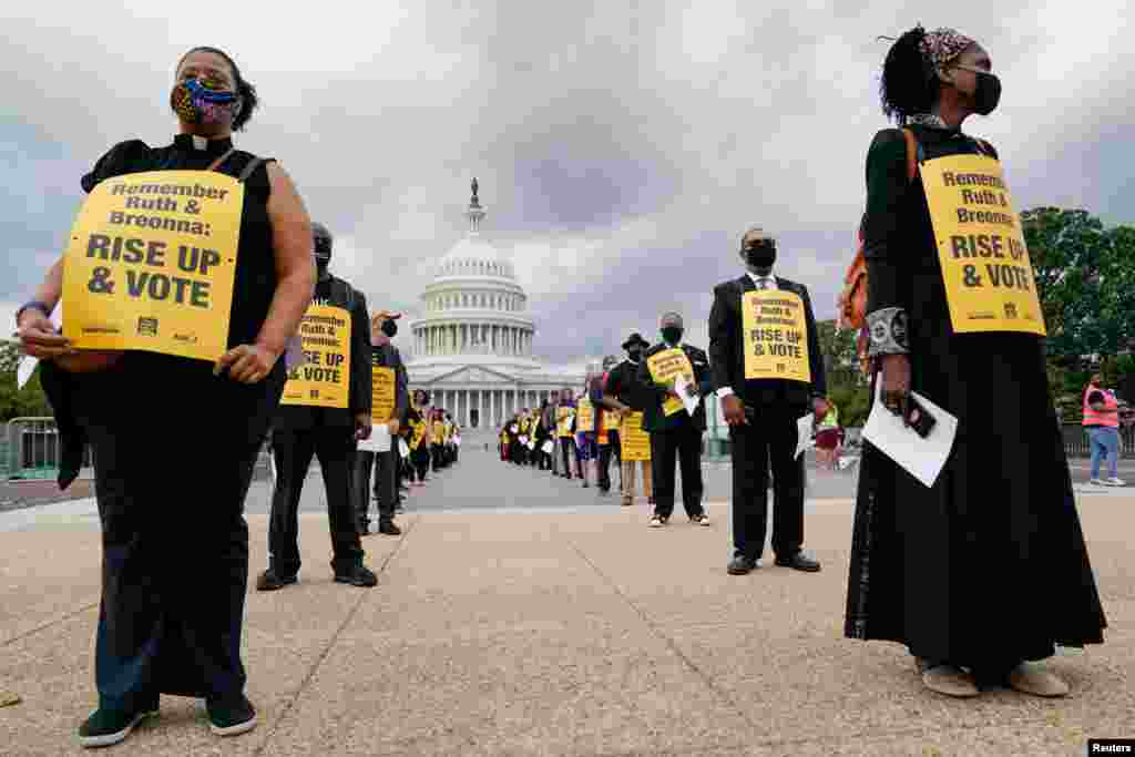 Religious leaders gather outside the U.S. Capitol to protest the Senate's actions related to the Supreme Court, police reform and immigration, in Washington, D. C., Sept. 29, 2020.