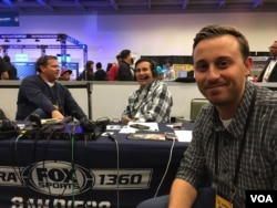 The Fox Sports radio team assembles for one of it myriad shows, on Radio Row for Super Bowl 50, at the Moscone Convention Center in San Francisco, Feb. 5, 2016. (P. Brewer/VOA)