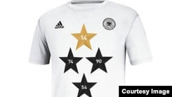 A new soccer shirt bearing four stars, one for each of Germany's World Cup wins, sold out within hours of the team's victory in Brazil. (Courtesy Adidas)