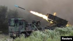 台灣在台中舉行漢光軍演反登陸實彈演習。(2020年7月16日)