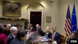 Presiden Barack Obama menjadi tuan rumah dalam pertemuan dengan para pemimpin Uni Eropa di Gedung Putih (28/11).