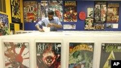 코믹 만화를 전문으로 판매하는 상점.