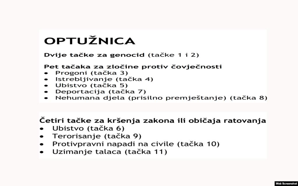 Ratko Mladić - optužnica