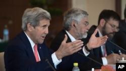 6月6日美中氣候變化問題聯合會議在北京舉行,美國國務卿約翰克里會上發言。