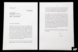 This photo shows a complete copy of a letter by Emeritus Pope Benedict XVI about Pope Francis that the Vatican released March 17, 2018, after coming under criticism for previously selectively citing it in a press release and digitally manipulating a photograph of it. The previously hidden part of the letter, the Vatican blurred the final two lines of the letter's first page, provides the real explanation why Benedict refused to provide commentary on a new Vatican-published compilation of books about Francis' theological and philosophical background.