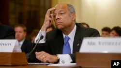 Homeland Security Secretary Jeh Johnson while testifying on Capitol Hill, Washington, June 24, 2014.