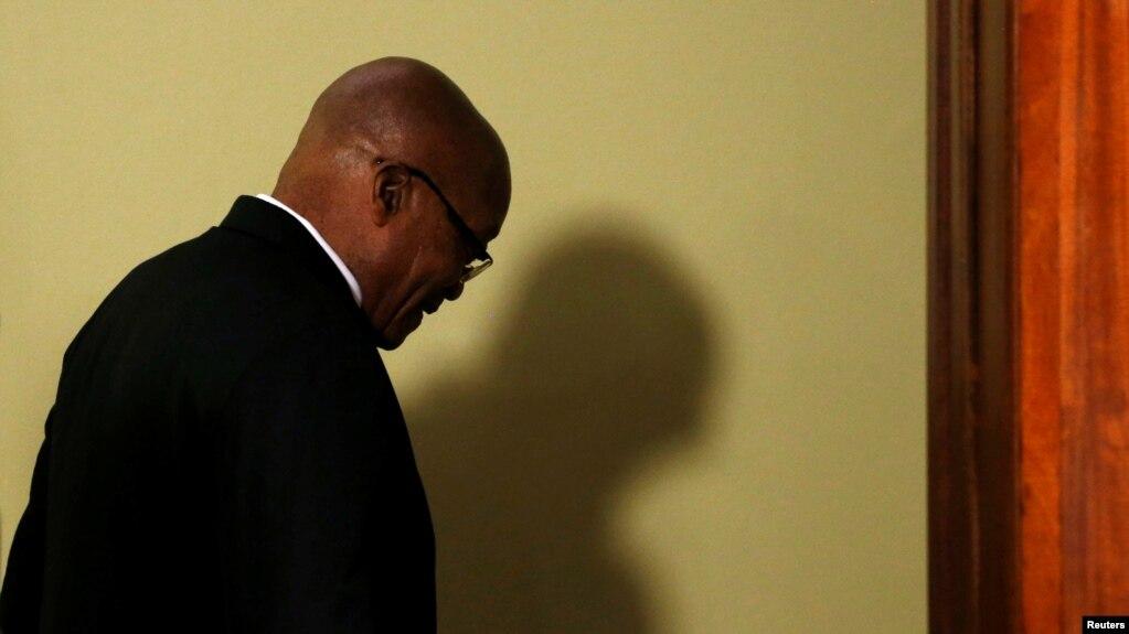 Le président sud-africain Jacob Zuma après l'annonce de sa démission à Pretoria, en Afrique du Sud, le 14 février 2018.