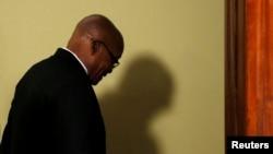 El presidente de Sudárica Jacob Zuma anunció su renuncia en Pretoria, el 14 de febrero de 2018.