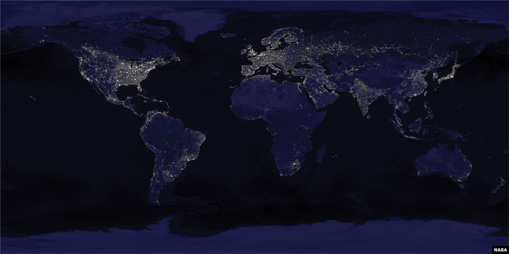 Much of the world's lighting represents wasted energy that shines directly upward into space as seen in this composite satellite image. (NASA)