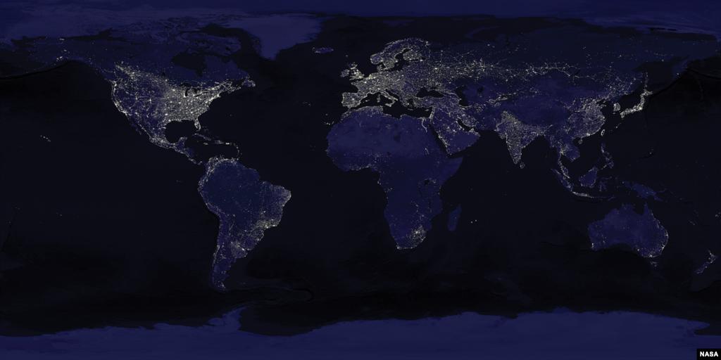 Banyak pencahayaan di dunia membuang-buang energi karena secara langsung bersinar ke arah antariksa seperti terlihat dalam gambar satelit gabungan. (NASA)